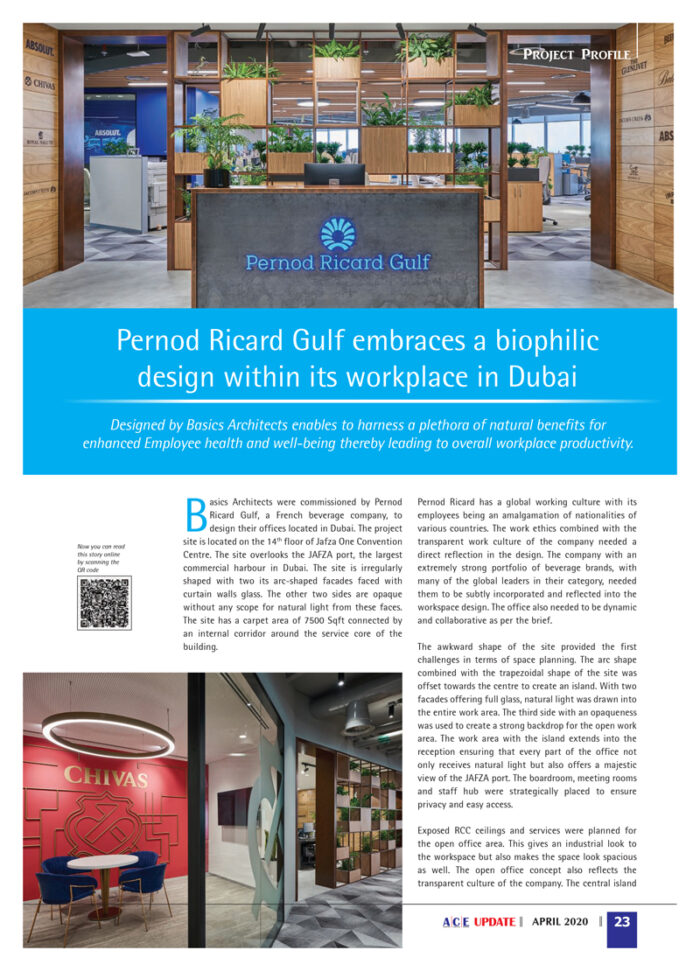 Pernod Ricard Offices, Dubai published in ACE Magazine